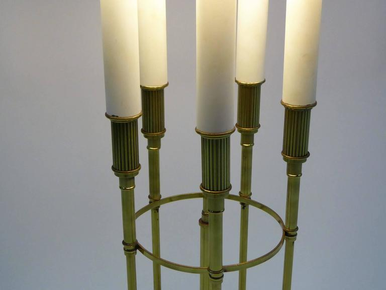 Parzinger Style 1950s Solid Brass Five Candle Boulliotte Table Lamp For Sale 2
