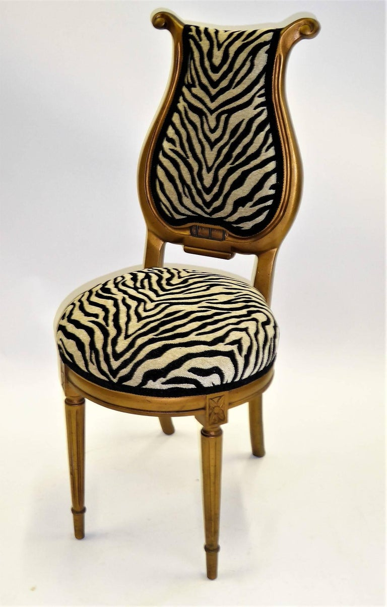 1940s Musical Motif Carved Giltwood Side Chair in Zebra Chenille For Sale 4