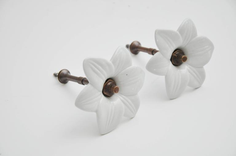 Pair of Antique White Glass Lily Tiebacks 2