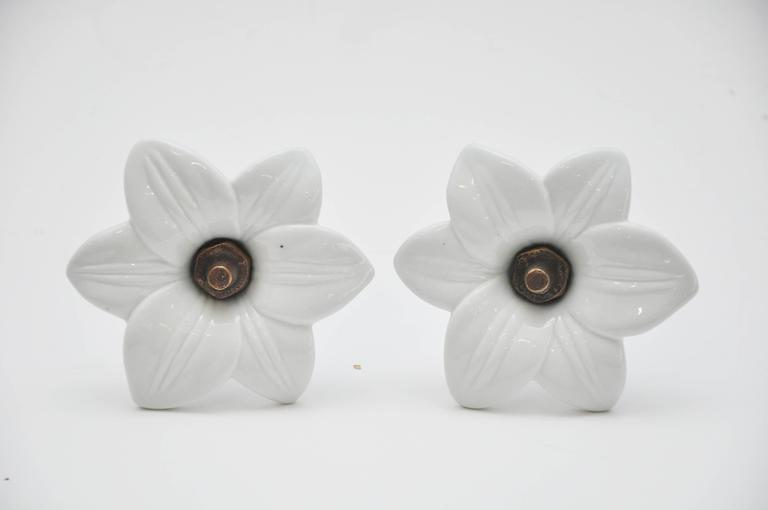 Pair of Antique White Glass Lily Tiebacks 3