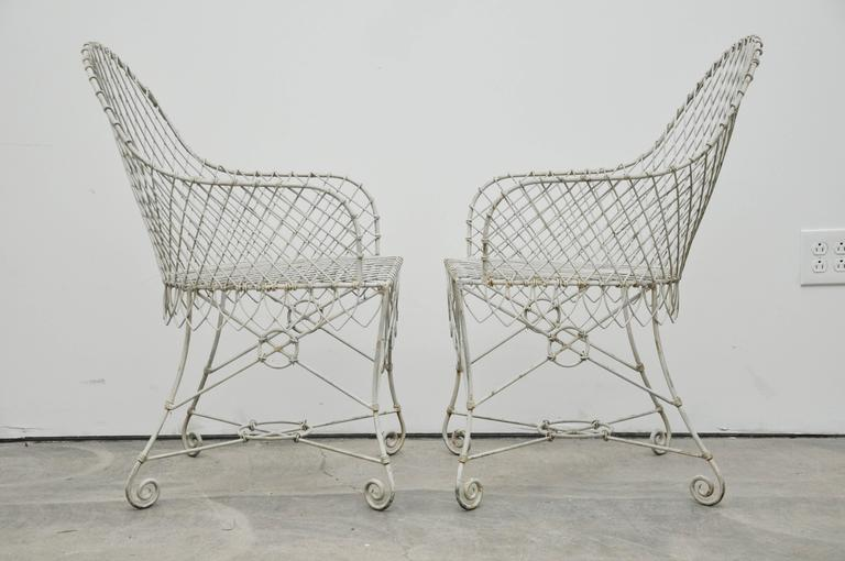 Pair of Wire Chairs For Sale 2