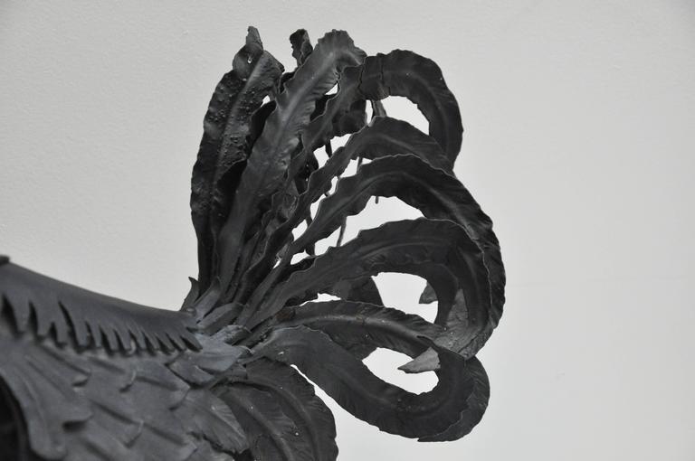 Pair of Black Metal Roosters For Sale 3