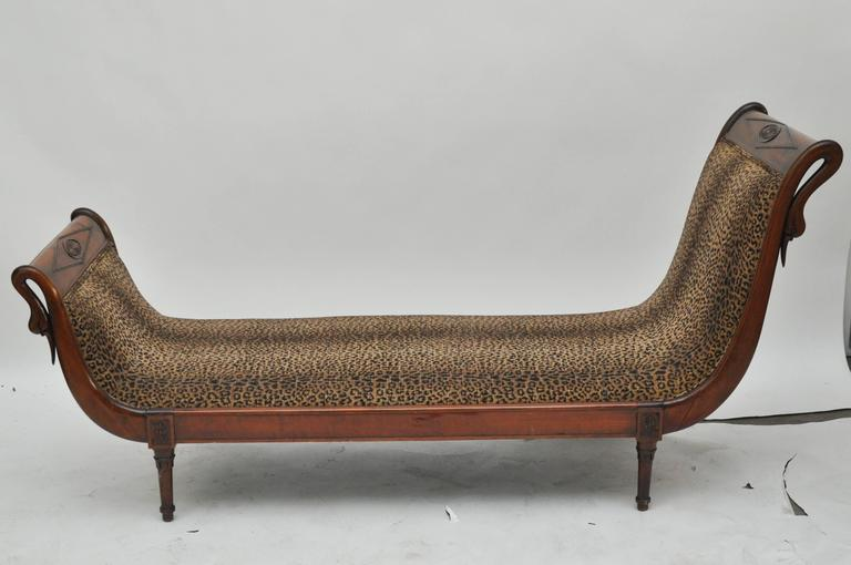 19th century french chaise longue with swans at 1stdibs for Animal print chaise longue