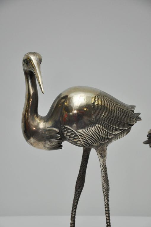 pair of silver plated crane statues for sale at 1stdibs. Black Bedroom Furniture Sets. Home Design Ideas