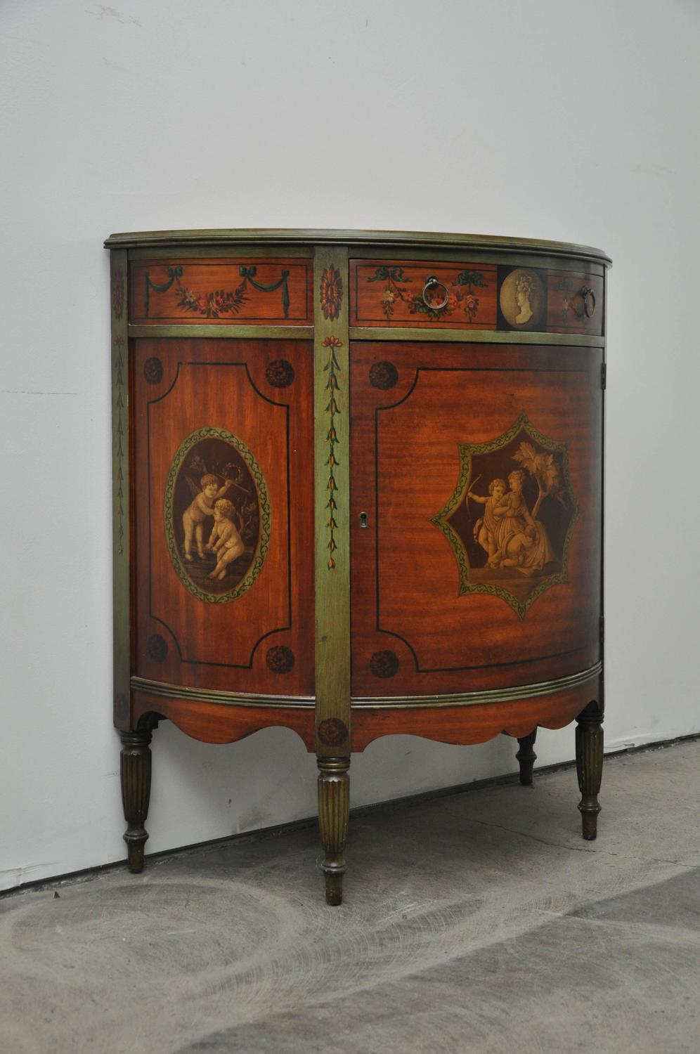 Painted Demilune Cabinet For Sale At 1stdibs