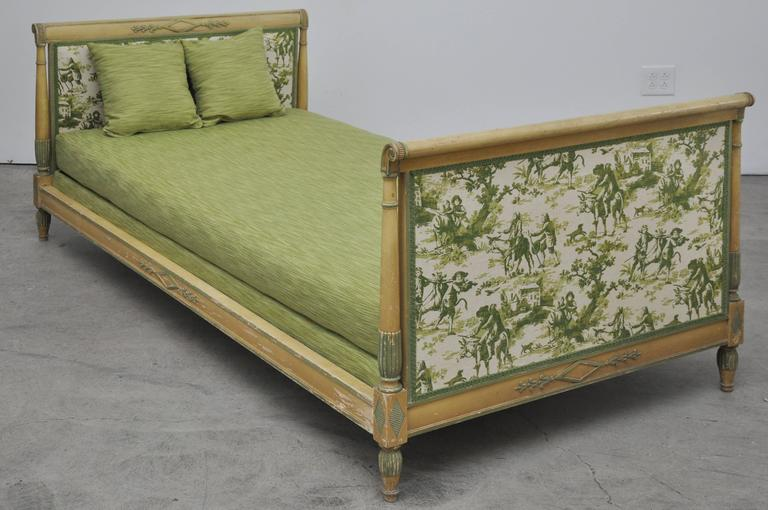 "French Directoire style daybed. Measures: Seat height 15""."