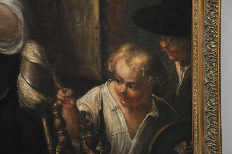 17th century large-scale Flemish oil painting. The school of Jacob Jordaens. In excellent condition. Formerly sold at Sotheby's.