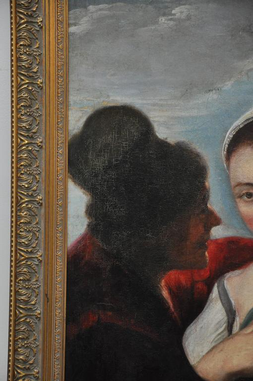Peasant Girl at a Window Flemish 17th Century Oil Painting In Excellent Condition For Sale In Geneva, IL