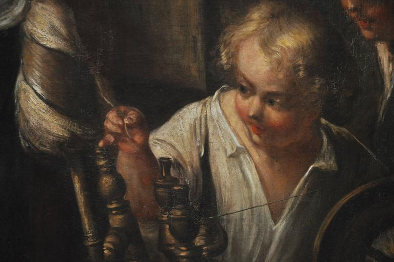 Peasant Girl at a Window Flemish 17th Century Oil Painting For Sale 3