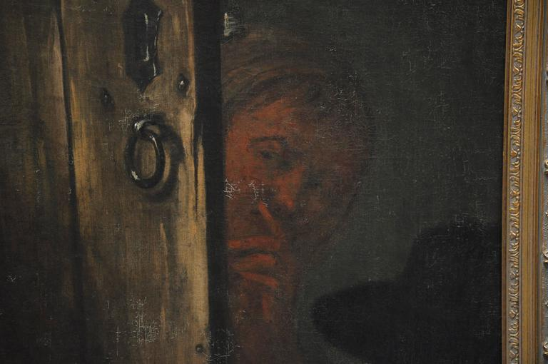 Peasant Girl at a Window Flemish 17th Century Oil Painting For Sale 4