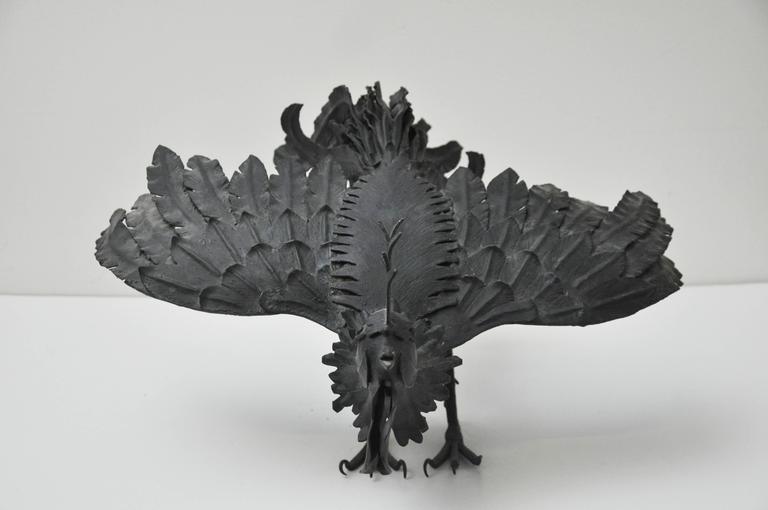 Pair of Black Metal Roosters For Sale 4
