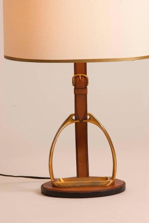 French Leather And Brass Table Lamp Stamped Longchamp. Lamp Features  Equestrian Motif With Leather And