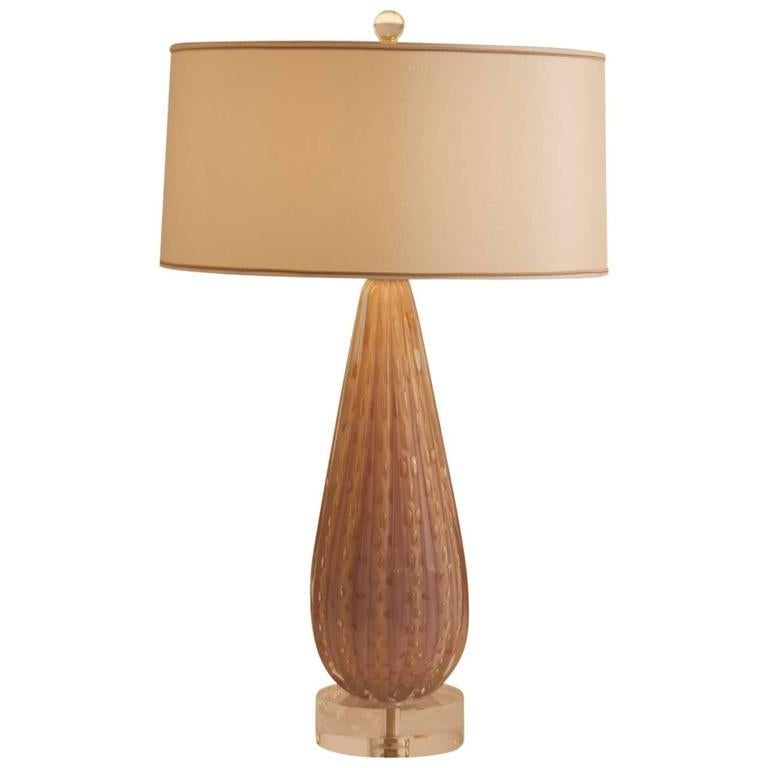 Mid-Century Modern 1950's Italian Large Scale Mid-Century Dusty Pink and Gold Murano Lamp For Sale
