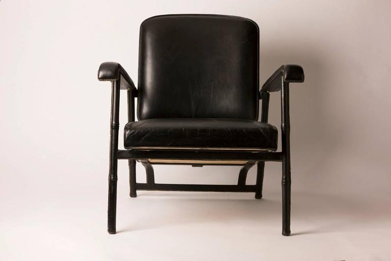 Mid-Century Modern Hand Stitched French Leather Lounge Chair by Jacques Adnet For Sale
