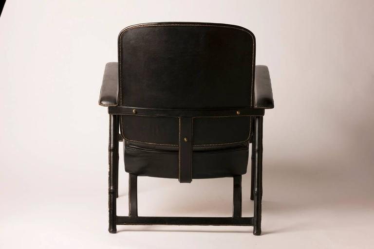 Hand Stitched French Leather Lounge Chair by Jacques Adnet In Distressed Condition For Sale In Aspen, CO