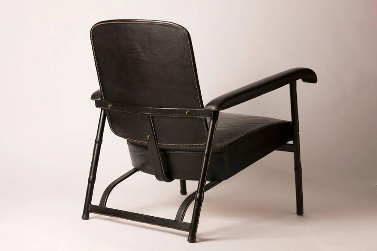 Mid-20th Century Hand Stitched French Leather Lounge Chair by Jacques Adnet For Sale