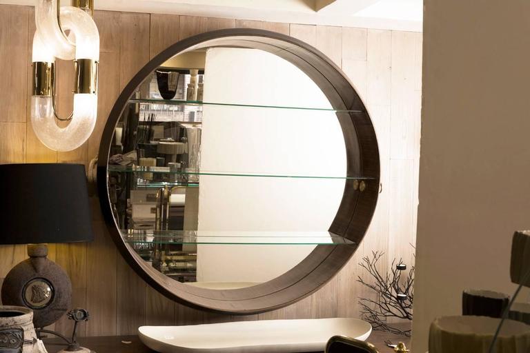 Custom mid century bar mirror created for an italian yacht for Mirror yacht