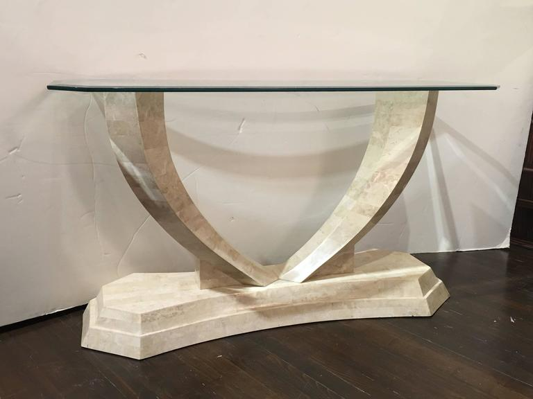 Fanciful and sculptural tessellated stone clad console table.  Designed by Robert Marcius for Casa Bique. Please contact for location.
