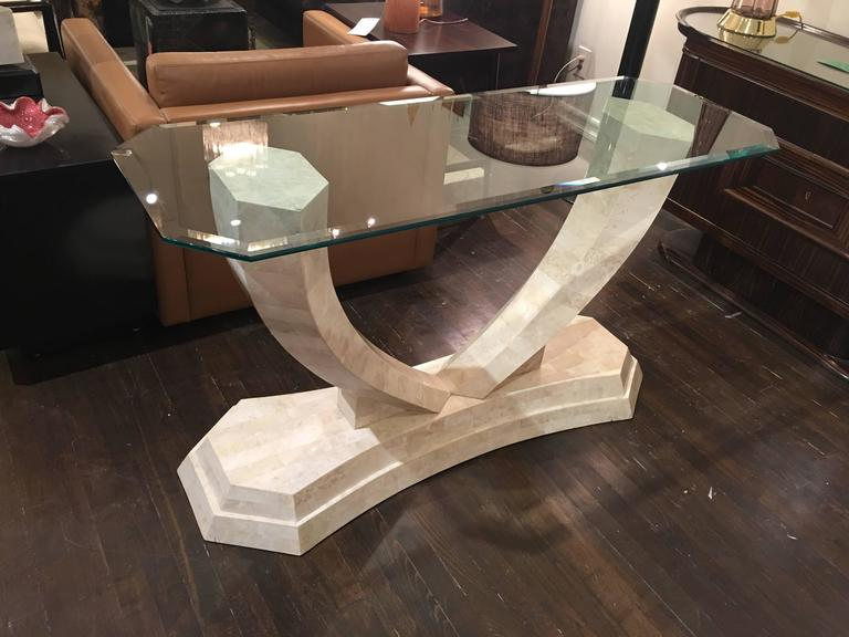 Tessellated Stone Console Table by Robert Marcius In Good Condition For Sale In New York, NY