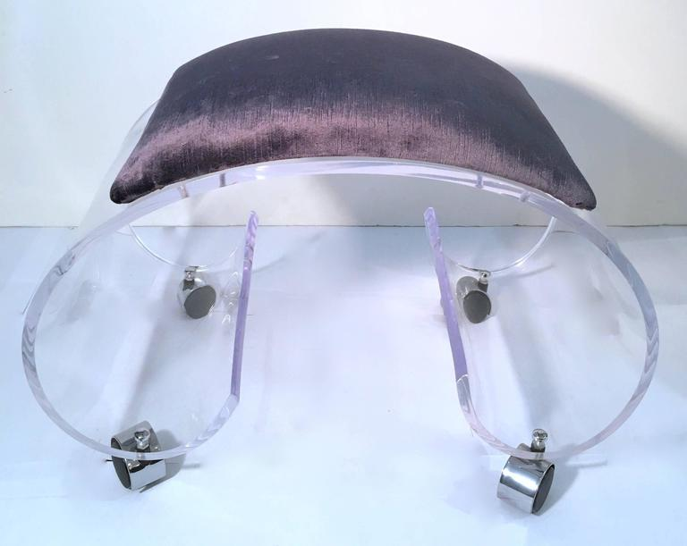 Mid-Century Modern Scrolled Lucite Bench or Vanity Stool For Sale