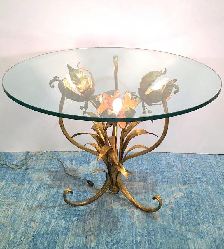 Hollywood Regency Italian Illuminated Gilt Tole Side Table For Sale