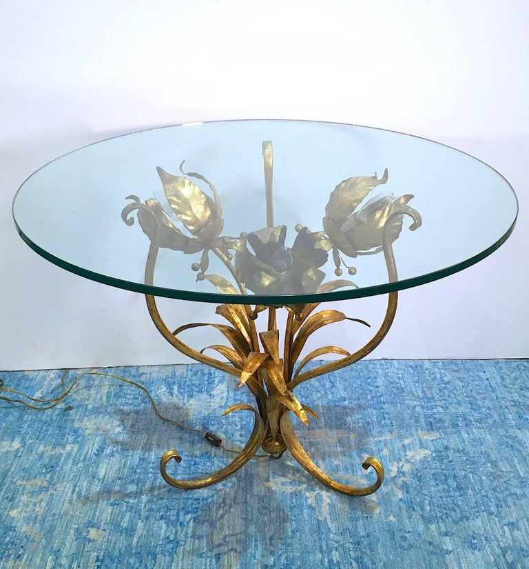 Italian Illuminated Gilt Tole Side Table In Good Condition For Sale In New York, NY