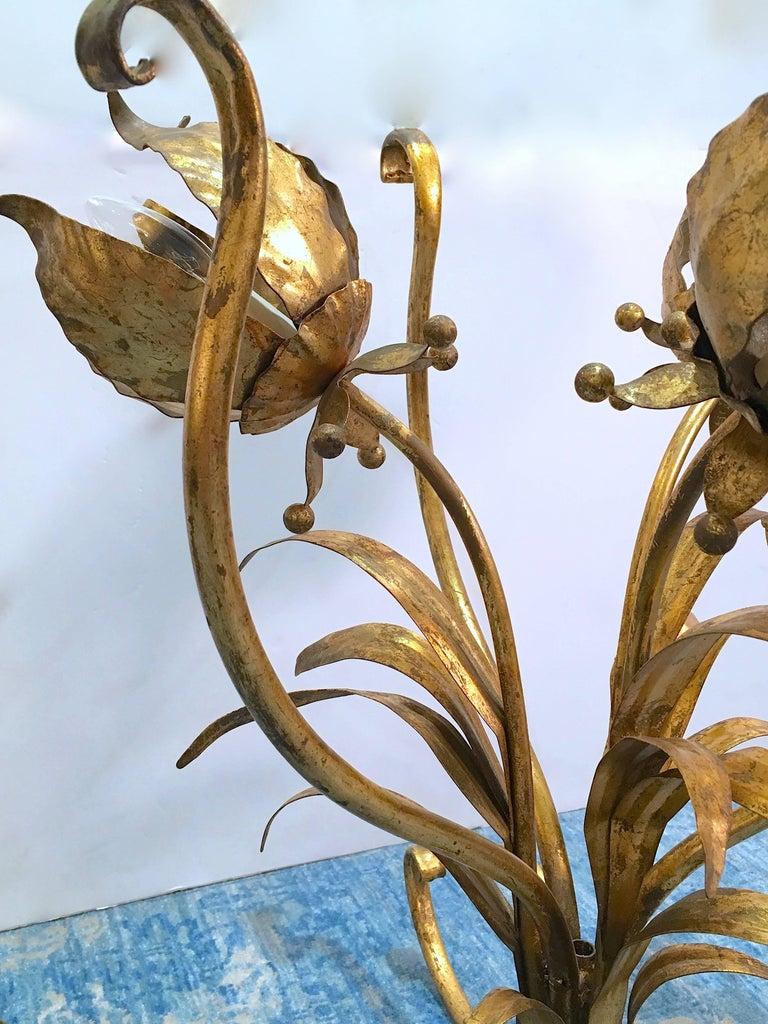 20th Century Italian Illuminated Gilt Tole Side Table For Sale