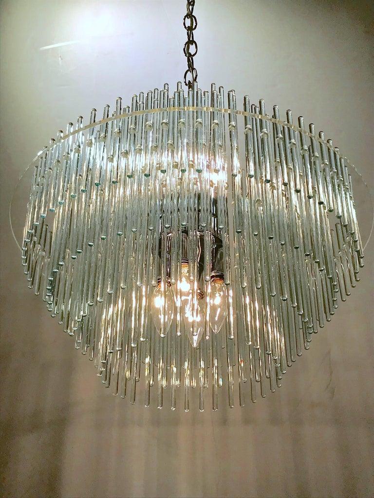 Art Glass Chandelier by Gaetano Sciolari For Sale