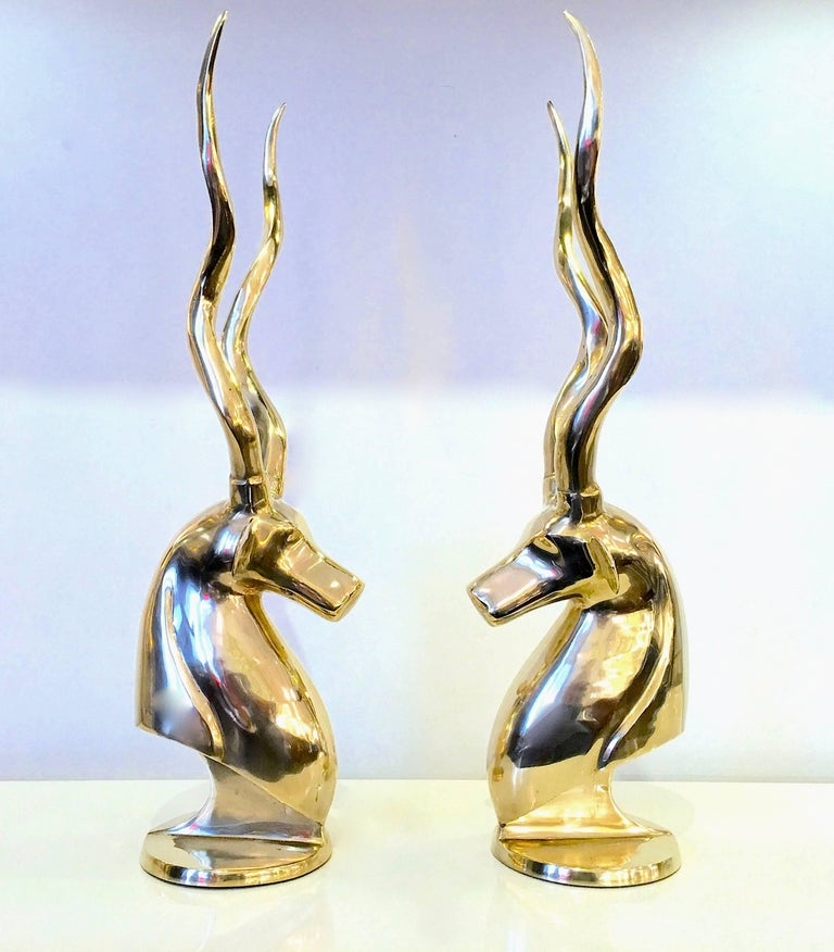 Hollywood Regency Grand Pair of Brass Gazelles by Dolbi Cashier For Sale