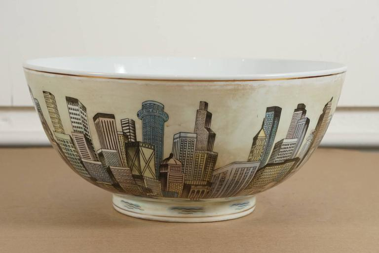 Unknown Cityscape Full Surround Porcelain Bowl For Sale