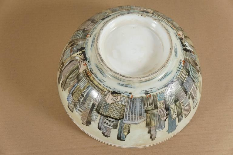 20th Century Cityscape Full Surround Porcelain Bowl For Sale