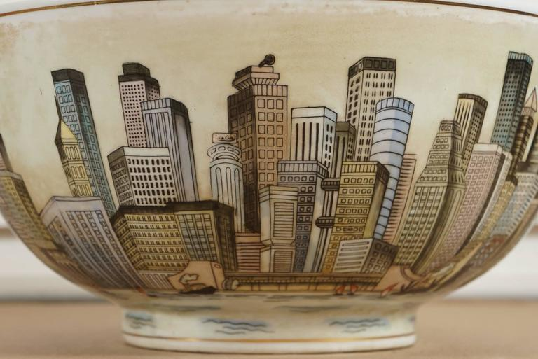 Cityscape Full Surround Porcelain Bowl For Sale 3