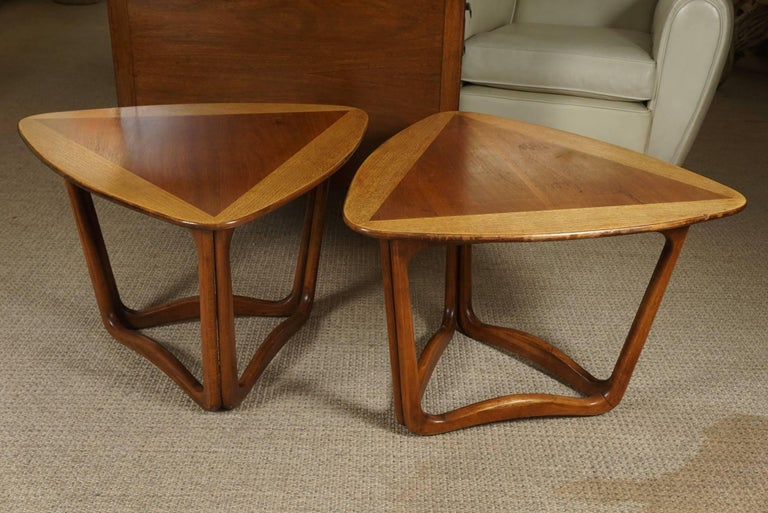 Pair of Triangular Wood End Tables 2