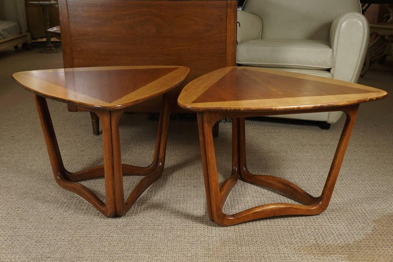 Pair of Triangular Wood End Tables 4