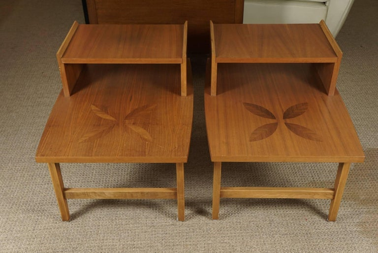 Mid-Century Modern Pair of Stepped End Tables in Maple For Sale