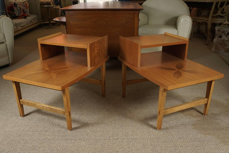 American Pair of Stepped End Tables in Maple For Sale