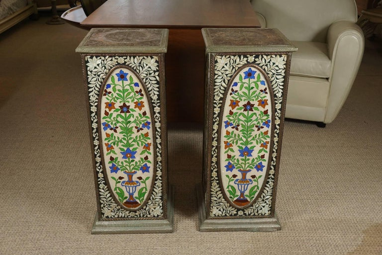 Pair of Pedestals with Glass Flower Medallion  2