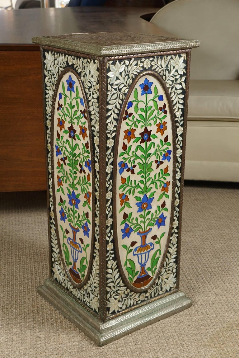Pair of Pedestals with Glass Flower Medallion  4