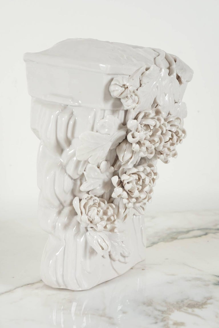 pair of blanc de chine vase wall brackets with flower. Black Bedroom Furniture Sets. Home Design Ideas