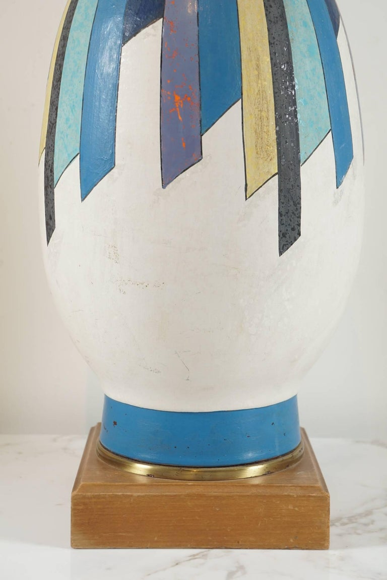 Mid-20th Century Graphic Ceramic Lamp in the Style of Raymor For Sale