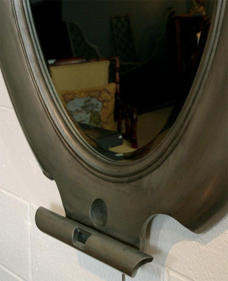 Contemporary Oval Shield Mirror For Sale