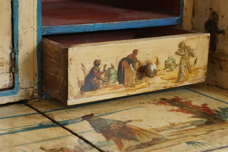 Early 20th Century Italian Painted Desk with Decoupage Figures For Sale
