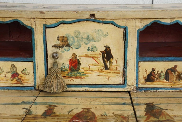 Wood Italian Painted Desk with Decoupage Figures For Sale