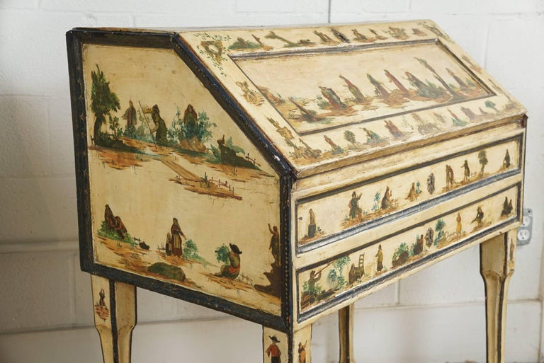 Italian Painted Desk with Decoupage Figures For Sale 2