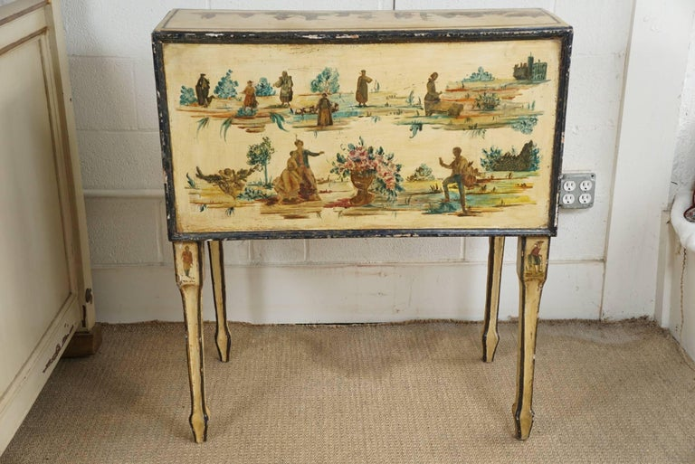 Italian Painted Desk with Decoupage Figures For Sale 4