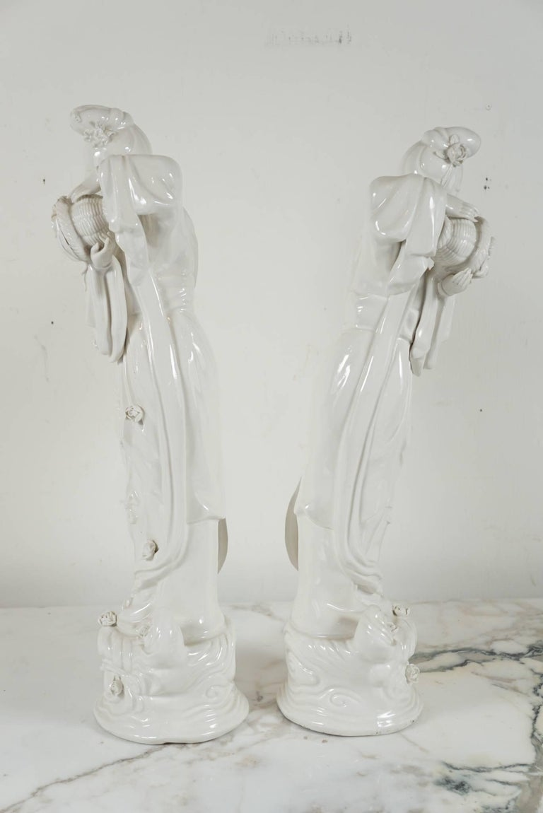 Chinese Pair of Blanc de Chine Figurines For Sale