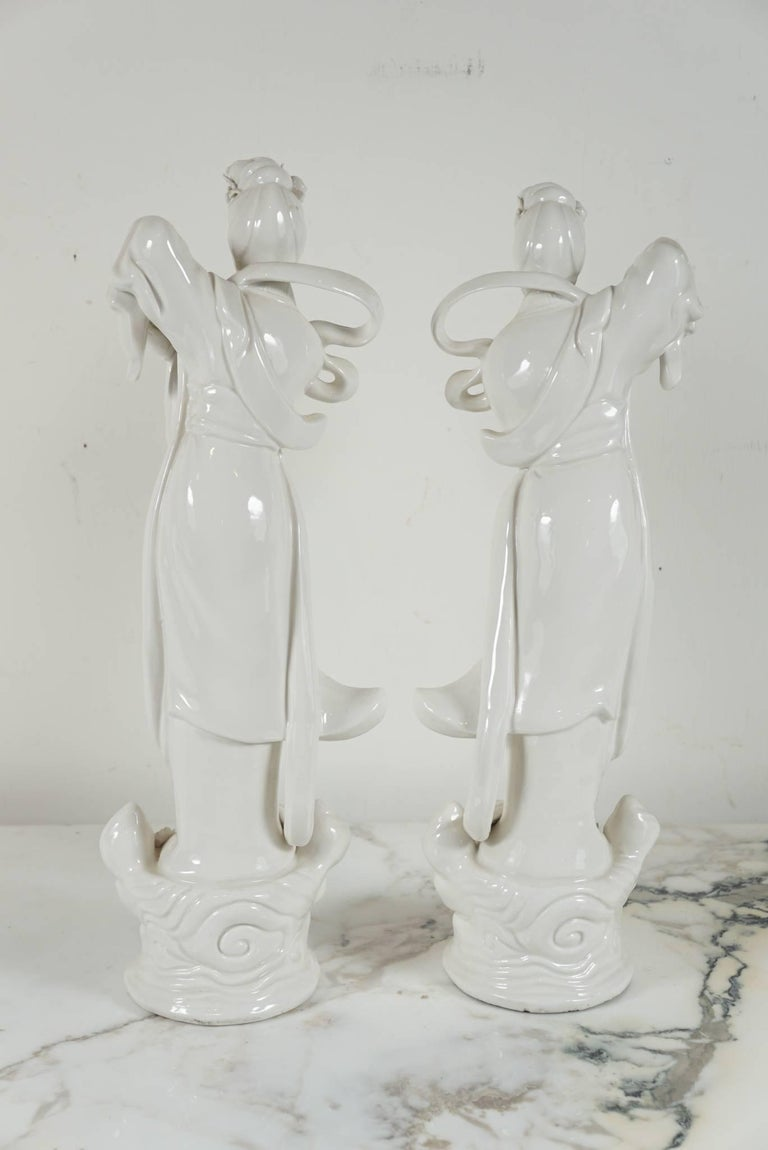 Pair of Blanc de Chine Figurines In Excellent Condition For Sale In Hudson, NY