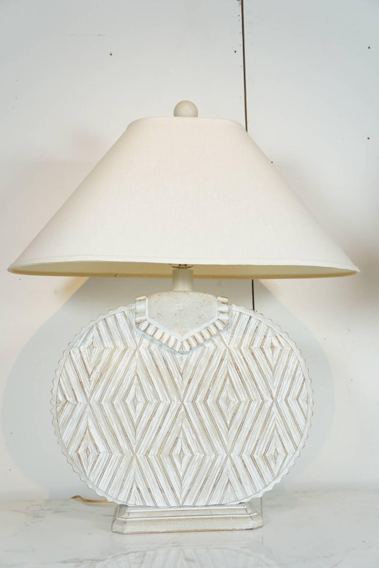 Pair of Ceramic Lamps with Aztec Detail In Excellent Condition For Sale In Hudson, NY