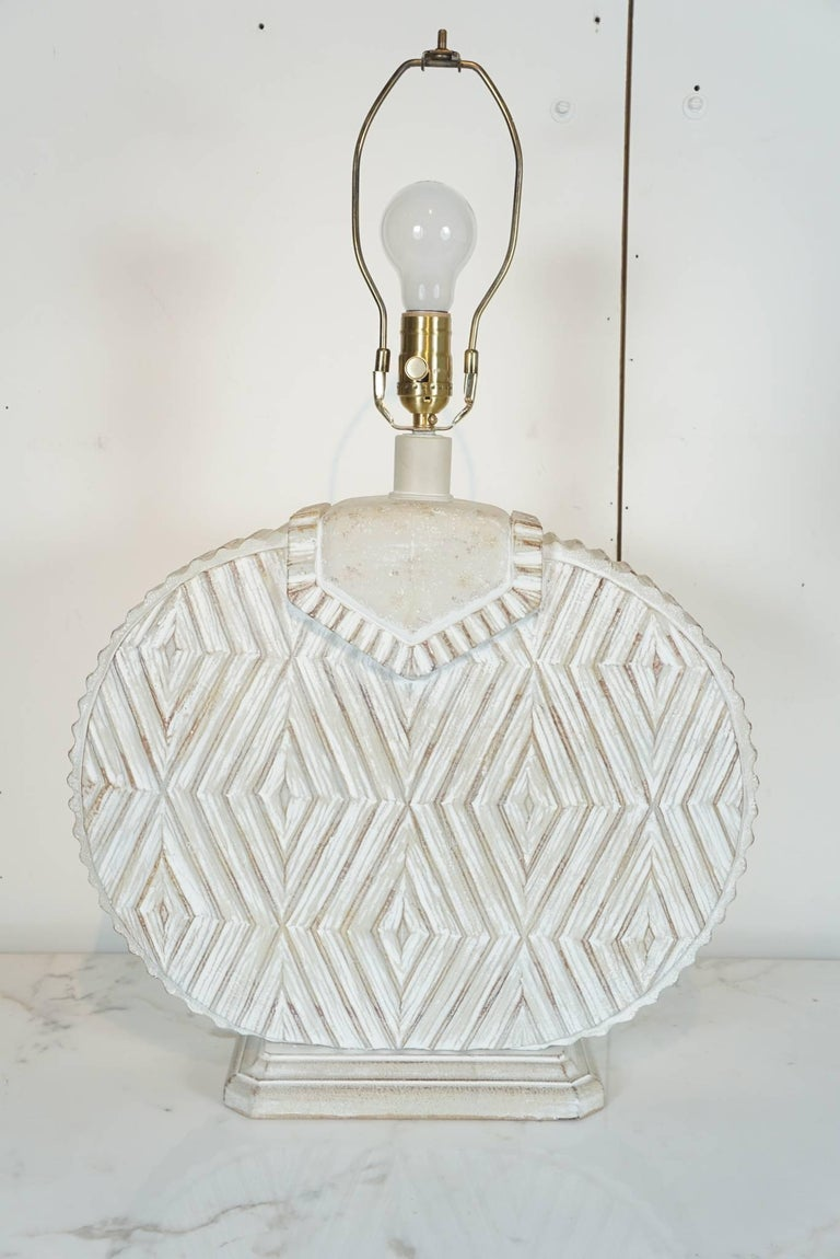 Pair of Ceramic Lamps with Aztec Detail For Sale 1