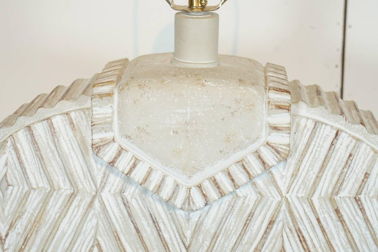 Pair of Ceramic Lamps with Aztec Detail For Sale 2